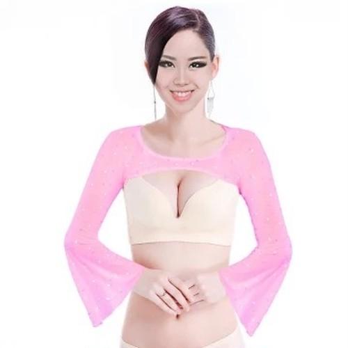 ベリーダンスの服トップス女性のセクシーなスパンコールトップベリーダンスネクタイトップ雰囲気ラップオリエンタルダンスブラウス 5 色