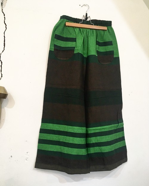 【solmu】播州織 only one pants <ST> green×brown