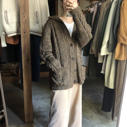 Brown mixed knit cardigan