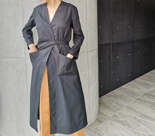 Wrap coat/ cotton black