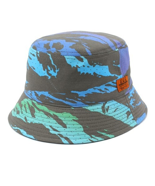 "DUPIEES(ダッピーズ)""SUNSET TIGER STRIPE BACKET HAT""[BLUE VISION]"