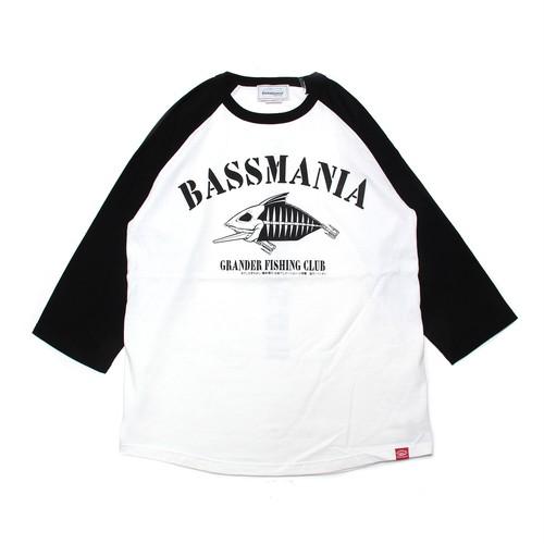 【bassmania×グランダー武蔵】スケルトンデザイン7分ラグランTee [ WHT/BLK ]【限定受注生産】【3月中~下旬配送】