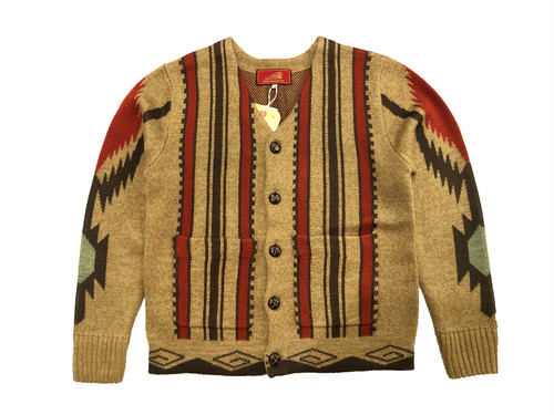 NATIVE JACQUARD V-CARDIGAN / INDIAN