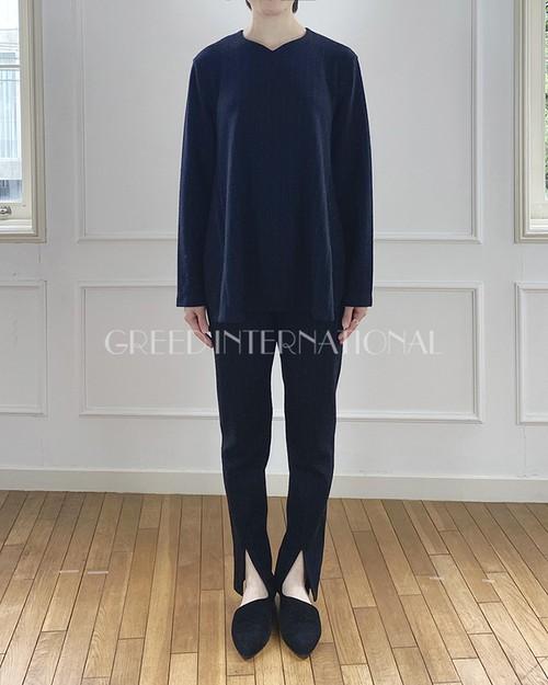 [予約商品][送料無料] GREED(グリード) Super 120s Wool Stripe Jacquard スリットトップス 2020秋冬物新作[9-10月入荷予定]
