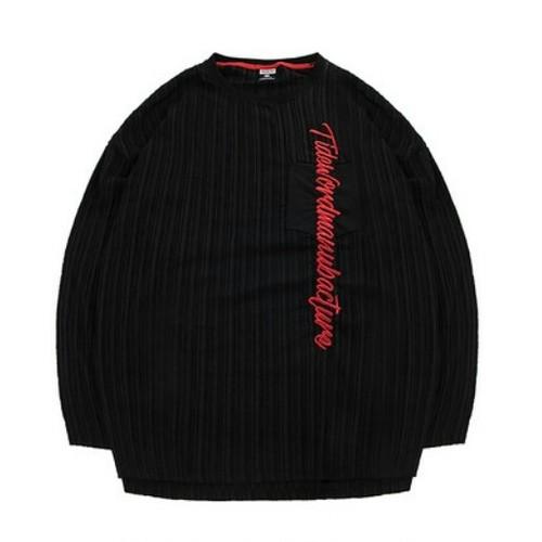 送料無料/メンズ/大きいサイズ/黒/赤ロゴ/ストライプ/長袖トップス