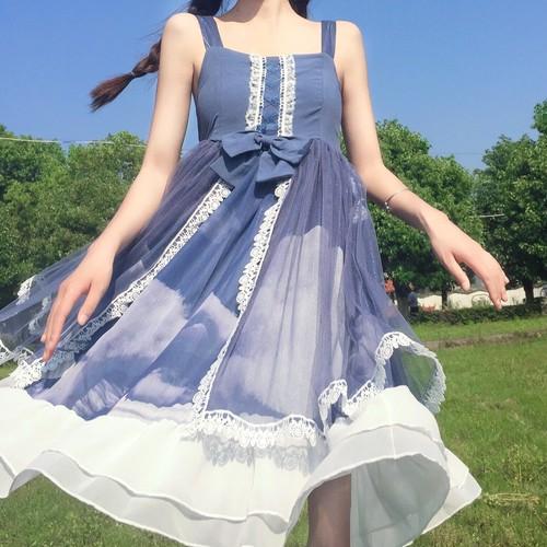 9908ロリータ服 ロリィタドレス ロリータ衣装 可愛い 少女風 日常 ワンピース キャミソールワンピース lolita