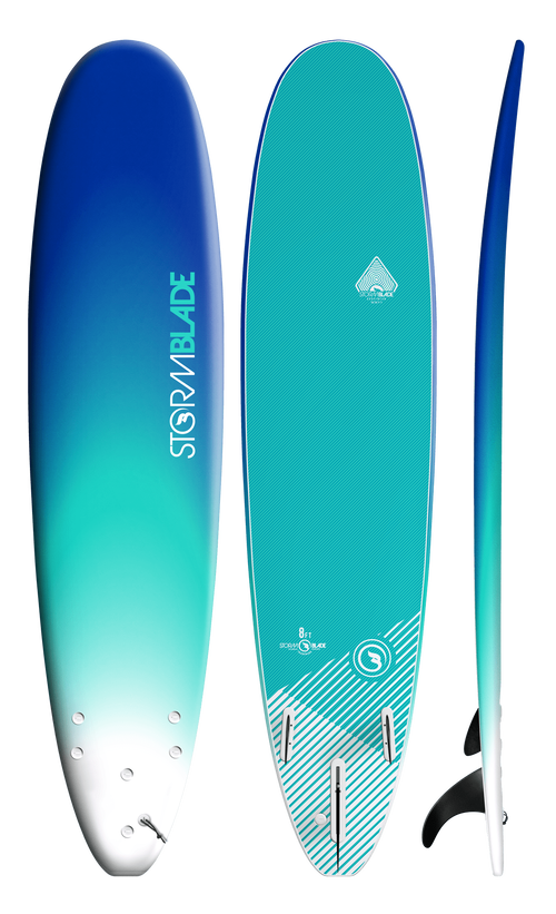 Storm Blade 8ft Surfboard / BLUE FADE  TURQUOISE GRAPHIC