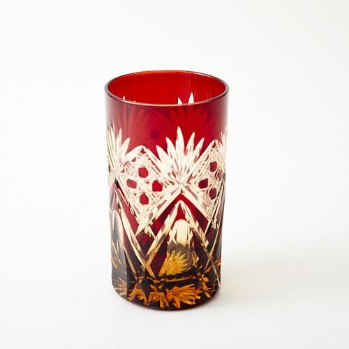 還暦祝いに江戸切子 琥珀色赤被せ焼酎グラス
