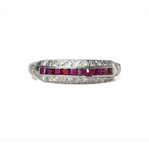 Art Deco Ruby Half Hoop Ring