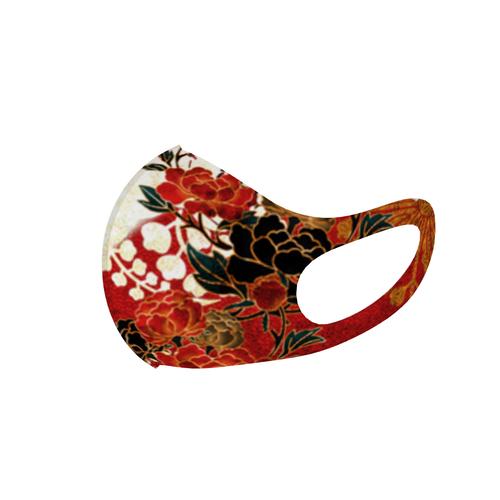 牡丹家紋 紅白 和柄ファッションマスク レギュラーサイズ