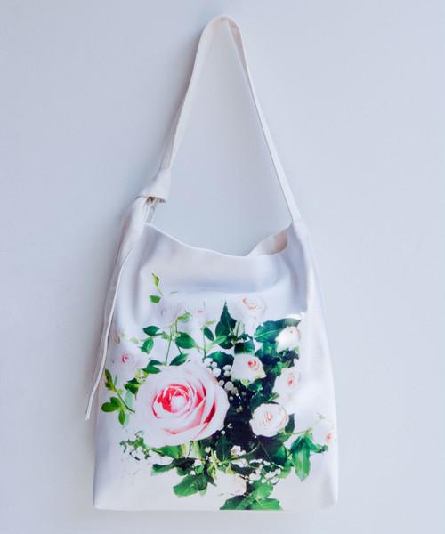 薔薇の花束・トートバッグ /ホワイト