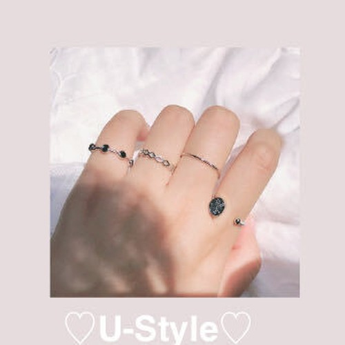 ♡stone silver ring set♡