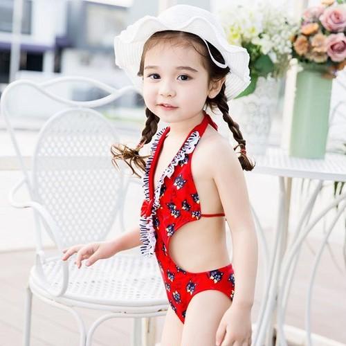 キッズ水着 子供水着 女の子 ワンピース水着 モノキニ 猫 ねこ ネコ 赤 レッド フリル リボン 可愛い オールインワン 女児 女子 ガールズ Lサイズ 100cm 110cm 3歳 4歳 5歳 6歳 w9178