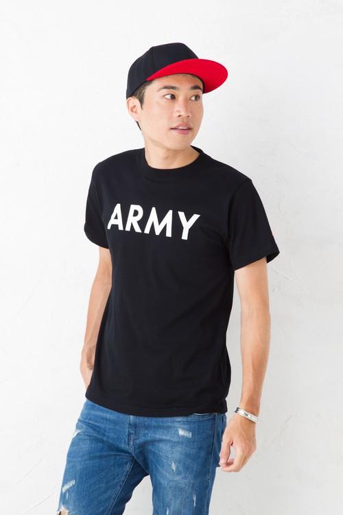 ARMY ロゴ Tシャツ 半袖 袖 星条旗 刺繍 ワッペン /ブラック