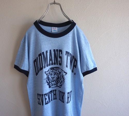 1980's USA製 [Champion] タイガーヘッド リンガーTシャツ 杢ブルー 表記(MEDIUM) チャンピオン