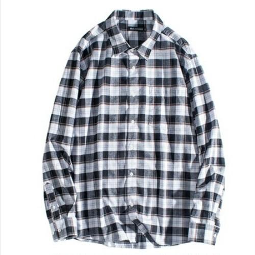 送料無料/メンズ/大きいサイズ/モノトーンチェック格子柄/コットン/長袖シャツ