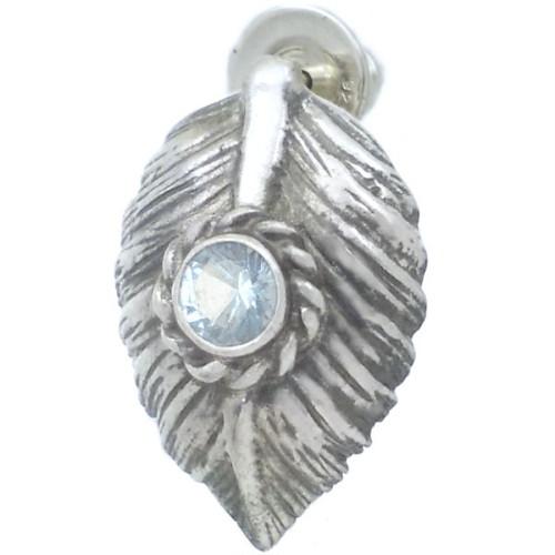 (12月)タンザナイト ブラック ネイディブ ハート フェザー  シルバー ピアス 誕生石*BE-1037