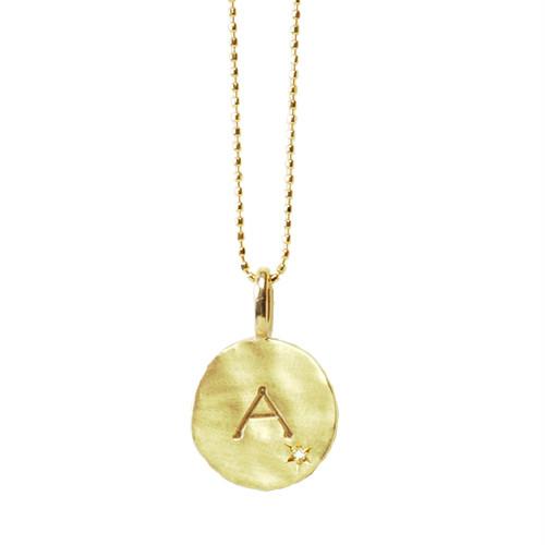 K10・Anne Bonnyイニシャル&ダイヤモンドゴールドネックレス