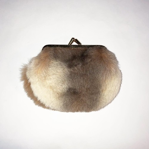 rabbit fur coin purse
