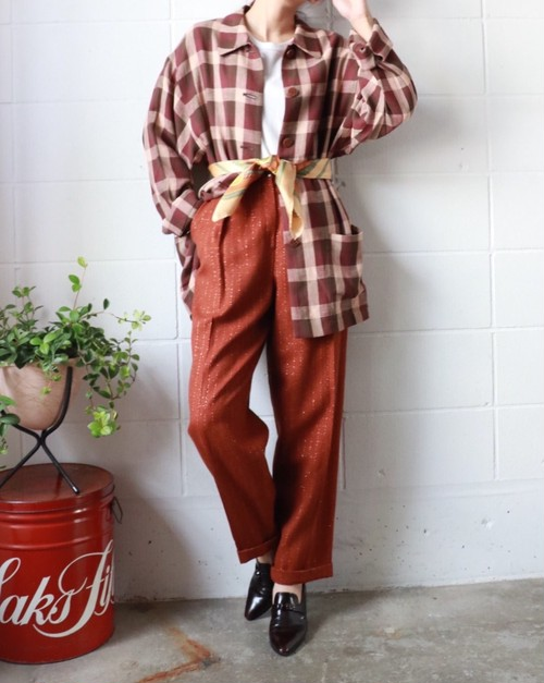 Brown lame mix pants