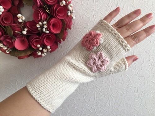 ハンドウォーマー メリノウール100% 白 手編み