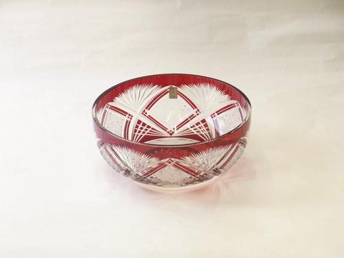 伝統工芸品 大友精三 作 江戸切子 平鉢 紅