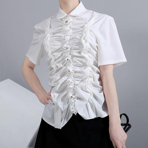 ギャザー ブラウス シャツ 半袖 フリル 折り襟 韓国ファッション レディース トップス 大きいサイズ 大人カジュアル 大人可愛い