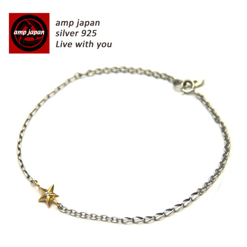 AMP JAPAN/アンプジャパン  ワンスターシルバーチェーンアンクレット 15AH-700