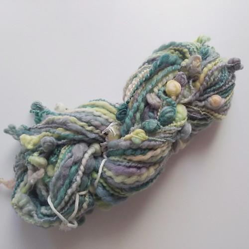 送料込み 手染め羊毛 オリジナル手紡ぎ糸 レインボー染つぶつぶヤーン 40g 712