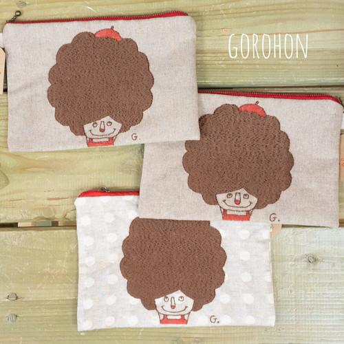 ビッグアフロちゃんポーチ GOROHON(ゴロホン)さんの刺繍ポーチ