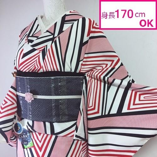【新品】ブランドプレタ浴衣&単衣 快適素材テイジンカラット使用 和風館 赤×白×黒 菱文にストライプ