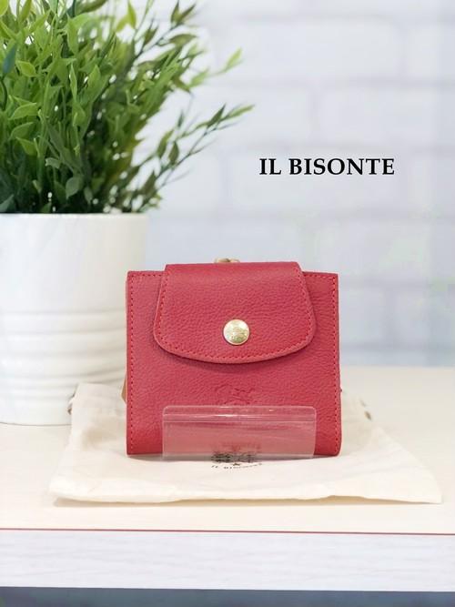 IL BISONTE / ガマ口二つ折り財布/9640(レッド)