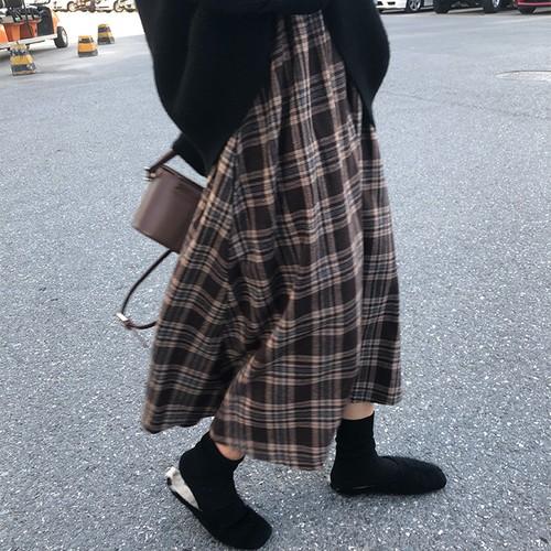 韓国ファッション レトロ チェック柄   チュニック  スカート・ボトムス