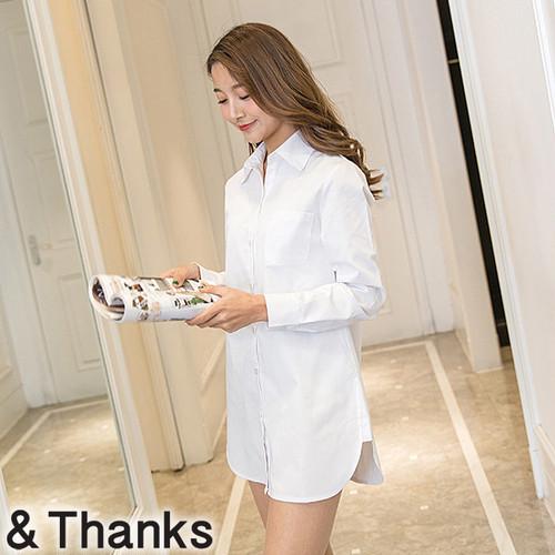シンプル ホワイトロングシャツ 1カラー 5サイズ