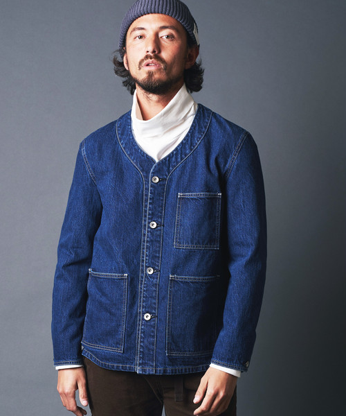 WASHED DENIM NO COLLAR COVER ALL JACKET
