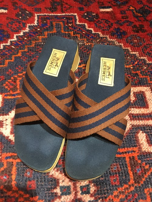 .HERMES CANVAS SANDALS MADE IN SPAIN/エルメスキャンバスサンダル 2000000032412