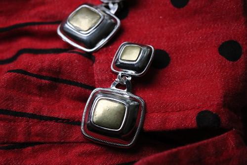 dead stock silver × gold earrings