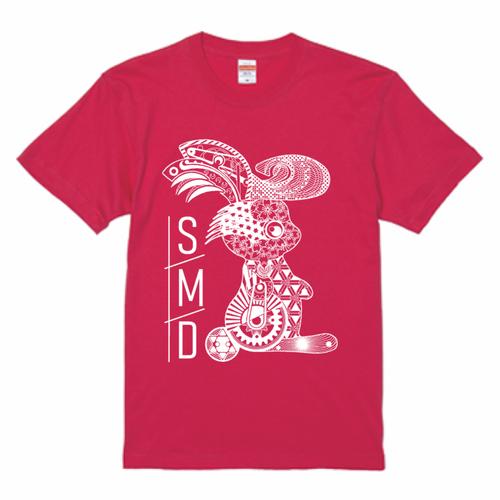 ★リーゼントうさぎTシャツ★ 半袖トロピカルピンクT / 白印刷ver 5.6oz