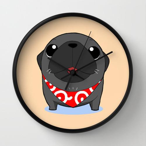 パグ時計 黒A(針:黒バージョン)