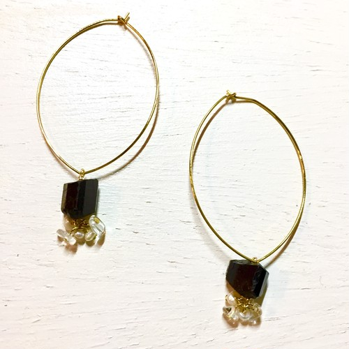 black tourmaline //hoop piece