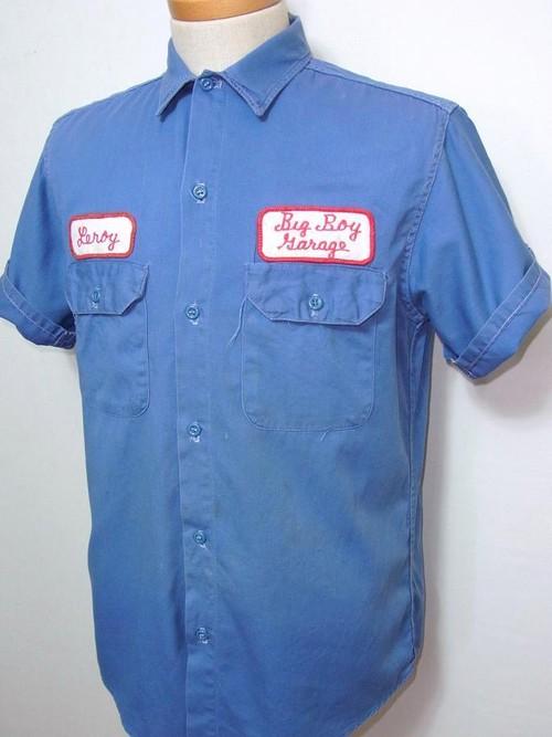 1970's ワッペン付S/Sワークシャツ 袖チェーンステッチ 表記(M)