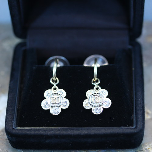 .CHANEL 07A COCO MARC CLEAR STONE FLORAL DESIGN SWING EARRING MADE IN FRANCE/シャネルココマークココマーククリアストーンお花デザインぶら下がりピアス2000000028545