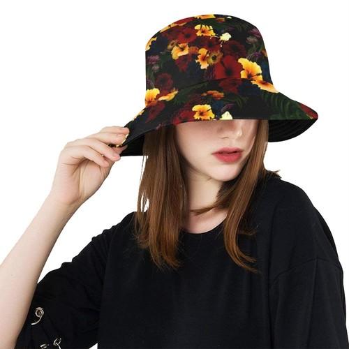 ハイビスカスブラック Bucket Hat バケットハット