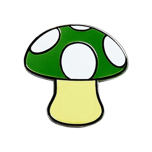 "Real Sic""Green Mushroom Emoji – Enamel Pin for your Life"""