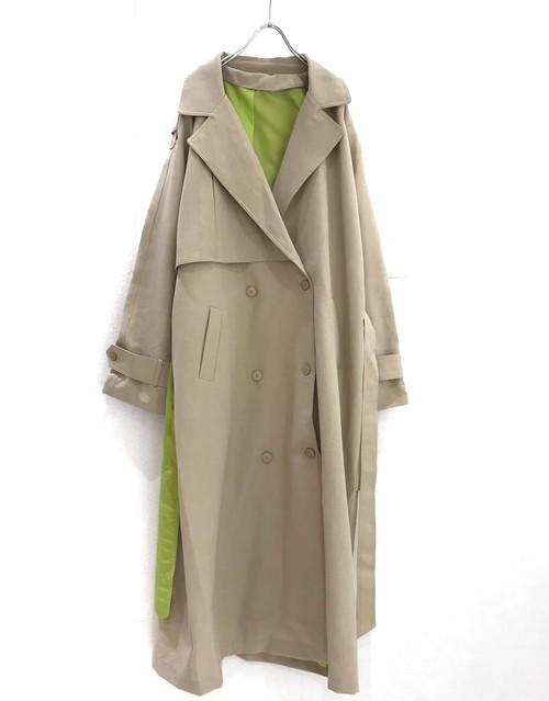 keisukeyoneda drop over trench coat +Embroidery belt  beige