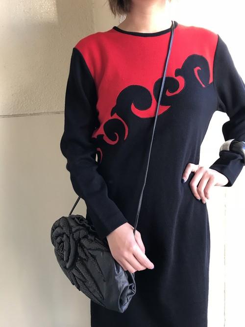 80s red × black knit dress ( ヴィンテージ  レッド × ブラック ニット ワンピース )