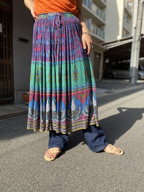 Indian rayon skirt purple × green
