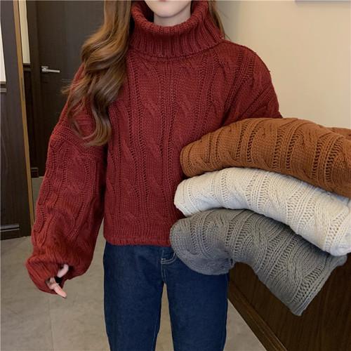 【トップス】ハイネックプルオーバールーズ厚いセーター