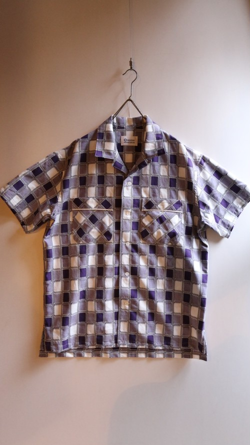 KUON/クオン half sleeves shirt  #2001-SH04 吉野格子 purple check