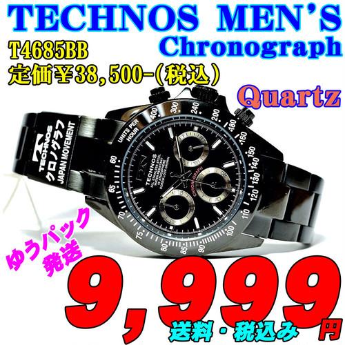 テクノス 紳士 クロノグラフ クォーツ T4685BB 定価¥38,500-(税込)